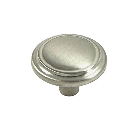Brookwood Brushed Satin Nickel Cabinet Hardware Round Ridge Classic Knob