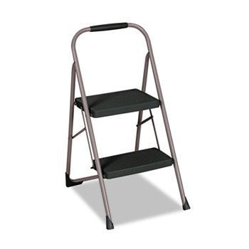 Csc11308Pbld1 Two-Step Big Step Folding Step Stool, 200-Lb., 22 4/5 Spread, Platinum/Black