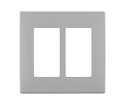 Leviton Rewp2-Pg Renu Two-Gang Screwless Snap-On Wallplate, Pebble Grey