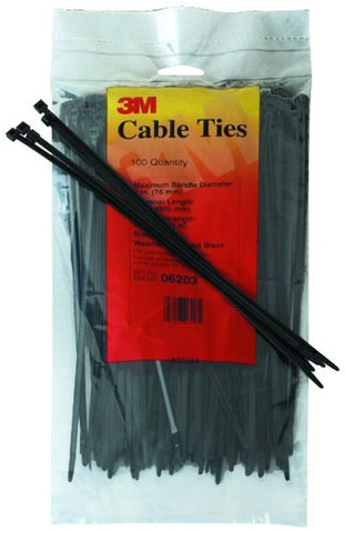 3M 06200 Weather-Resistant Miniature Cable Tie, 4-Inch, Black, 100-Count