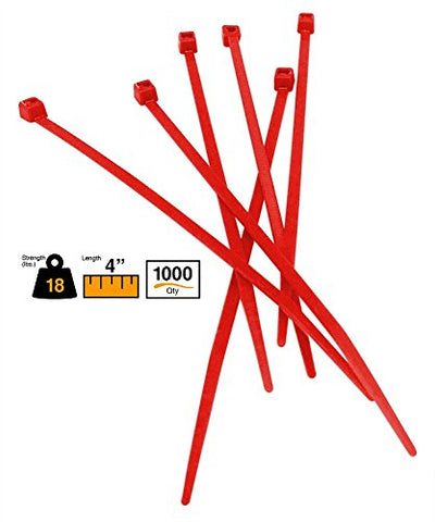 Buycableties 4 Miniature Style Indoor Cable Ties - 18 Lb Rated - Red - 1000 Per Bag