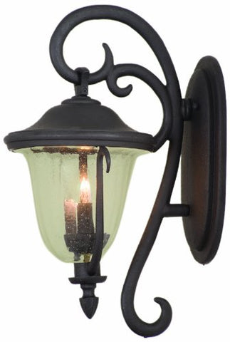 Kalco 9001Bb Wall Lanterns With Clear Hammered Glass Shades, Burnished Bronze Finish