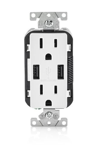 Leviton T5632-2Pk Usb Charger/Tamper-Resistant Duplex Receptacle, 15-Amp, 2-Pack, White