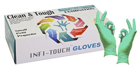 Infi-Touch, Clean And Tough Examination Gloves, Powder Free And Residue Free Nitrile Gloves, Green Gloves, 9.5  Length, Powder Free, 100 Count, Small