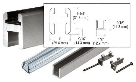 Crl Brushed Nickel 98 Flat/Flat Profile Deluxe Shower Door Header Kit