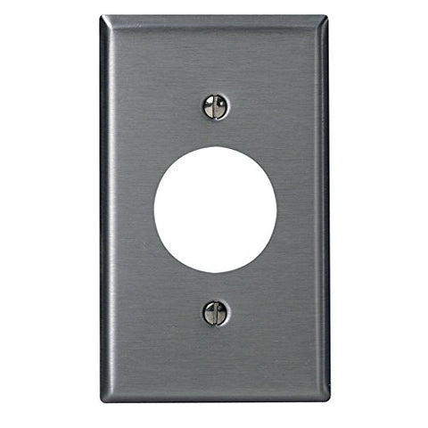 Leviton 84004-40 1-Gang, Single 1.406-Inch Hole Device Receptacle Wallplate, Standard Size, Device Mount, Stainless Steel