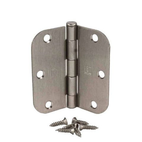 Hager 3 1/2 Inch Satin Nickel Door Hinges With 5/8 Radius Corners