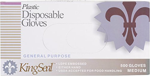 Kingseal Embossed Poly Disposable Gloves, Powder-Free - Large, 4 Bx/500 Per Case
