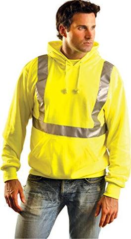Classic Lightweight Pull-Over Hoodie W/Safety Reflective Stripes - Class 2 - Hi-Viz Yellow-3X