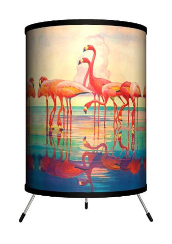 Lamp-In-A-Box Tri-Sep-Pinkf Saturday Evening Post - Pink Flamingos Tripod Lamp