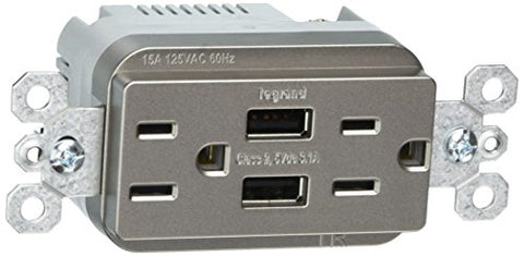 Legrand-Pass & Seymour Tm826Usbniccv4 3.1A Usb + Duplex 15A Vision Pk Electrical Outlet