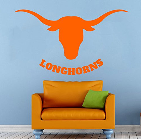 College Football Wall Vinyl Decal Sticker Texas Longhorns Ncaa Sport Home Interior Removable Decor (22 High X 40 Wide)