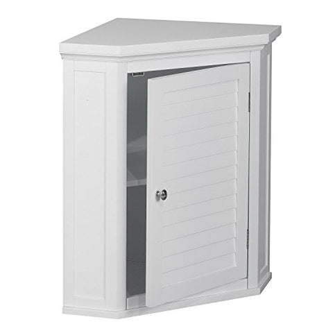 White Shutter Door Corner Wall Storage Medicine Cabinet With Adjustable Shelves For Bathroom Or Kitchen Sale! Chrome Knobs And Crown Molded Top