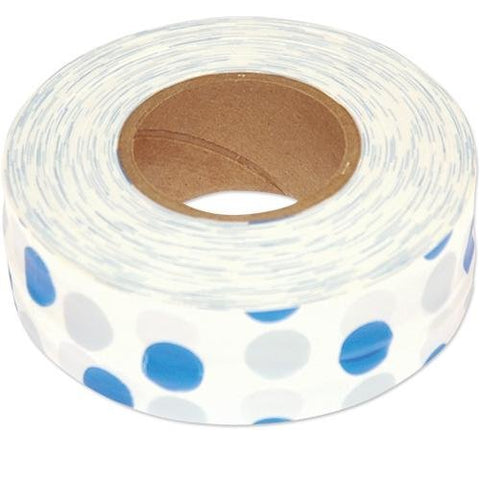 Flagging Tape, 1-3/16 Inches Wide (Blue Dots On White, 300 Foot Roll)