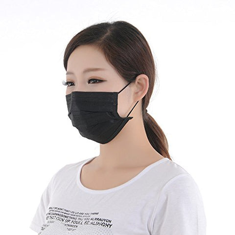Jumuu Black Four Layer Disposable Charcoal Activated Carbon Mask Filter Antivirus Bacteria - 50 Pieces (Each Piece Is Individually Packed)