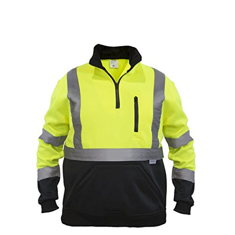 Jorestech Pullover High Visibility Half Zipper 100% Polyester Ansi Class 3 (Extra Large, Yellow)