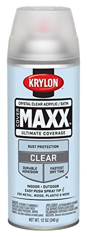 Krylon K09163000 Covermaxx Spray Paint, Satin Crystal Clear Acrylic, 12 Ounce