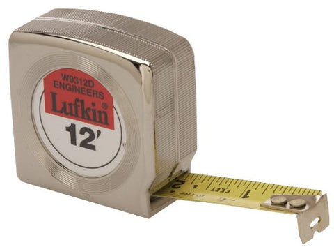 Lufkin W9312D 3/4 X 12' Mezurall Power Return Engineers Pocket Tape Measure With 10Ths And 100Ths
