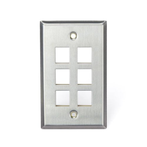 Leviton 43080-1S6 Quickport Wallplate, Single Gang, 6-Port, Stainless Steel