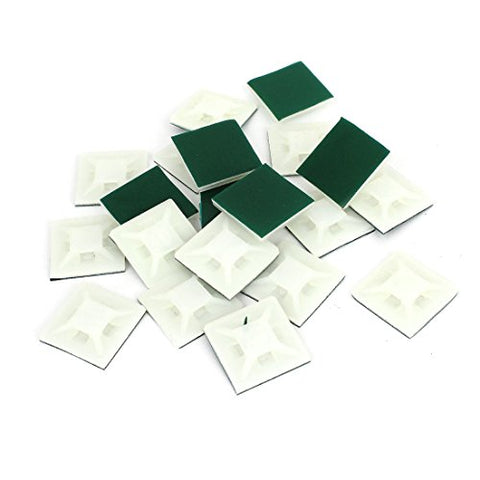 Uxcell Self-Adhesive Square Cable Tie Mount Base, 0.87 Inch, 20Pcs