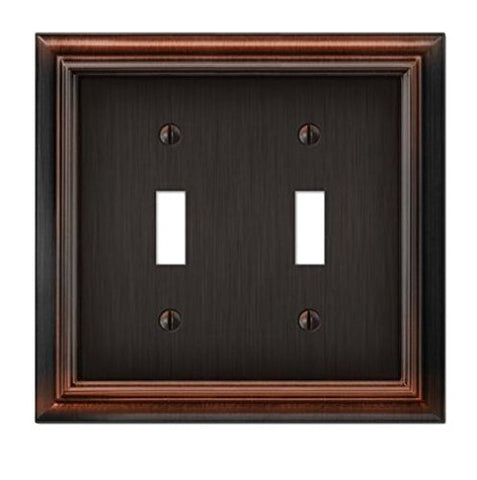 Elumina Continental Cast, Satin Aged Bronze Wallplate, Double Toggle