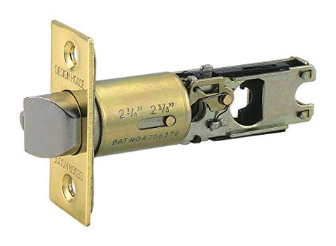 Design House 786111 Deadbolt Entry/Deadlocking 2-Way Adjustable Replacement Latch, Polished Brass Finish