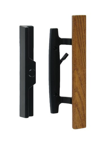 Lanai Sliding Glass Door Handle And Mortise Lock Set With Oak Wood Pull In Black Finish, Standard 3-15/16 Ctc Screw Holes, 1-3/4 Door Thickness