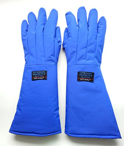 Inf-Way 48Cm/18.9'' Long Cryogenic Gloves Waterproof Low Temperature Resistant Ln2 Liquid Nitrogen Protective Gloves Cold Storage Safety Frozen Gloves (Medium)