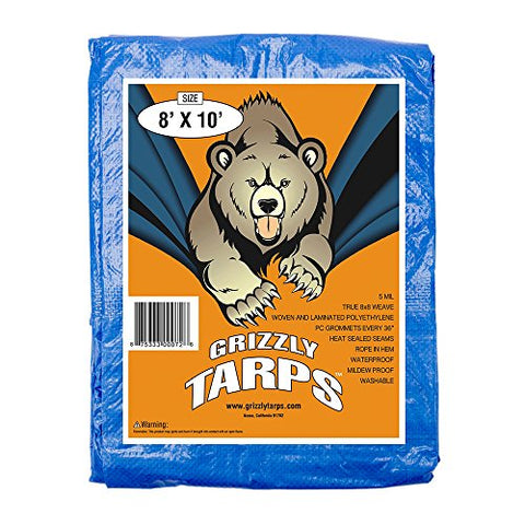 Grizzly Tarps 8 X 10 Feet Blue Multi Purpose Waterproof Poly Tarp Cover 5 Mil Thick 8 X 8 Weave