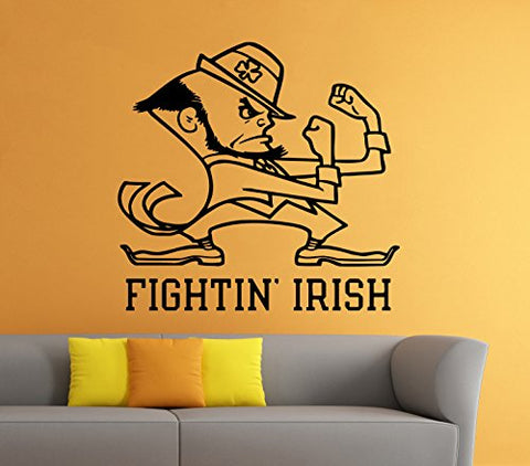 Fighting Irish Emblem Wall Vinyl Decal Sticker Notre Dame Ncaa College Football Sport Home Interior Removable Decor (22 High X 25 Wide)