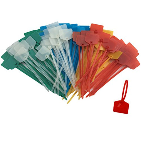 Huouo 50 Pcs 5 Inches Nylon Marker Cable Ties Self-Locking Cord Tags Label Wire Straps Assorted Colors