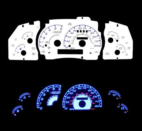 95-01 Ford Ranger With Tach White Glow Light Glow Gauge