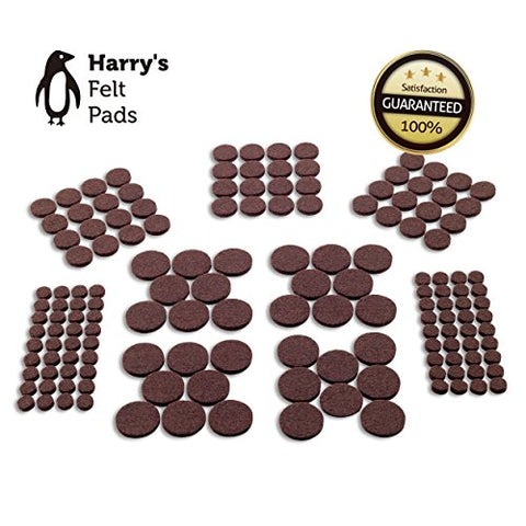 Felt Furniture Pads (152 Piece) Self-Stick Value Variety Pack, Heavy Duty, Eco-Friendly, Brown