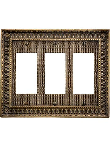 Pisano Triple Gang Gfi Cover Plate In Antique-By-Hand