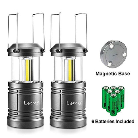 Camping Lantern With 6 Aa Batteries - Magnetic Base - New Cob Led Technology Emits 500 Lumens- Collapsible, Waterproof, Shockproof Led Camping Light With Detachable Handles By Letmy