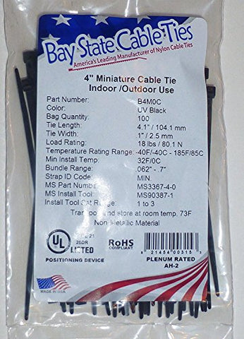 4 Miniature Uv Black Nylon Wire Cable Zip Ties Tie Wrap, Usa, Qty 1000