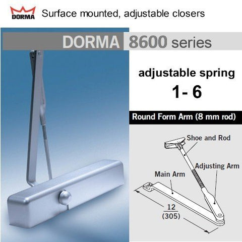 Dorma 8616Arp Round Arm Non-Hold Open Tri-Pack Door Closer
