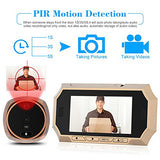 Kkmoon 4.3  Lcd Digital Peephole Viewer 160 Pir Door Eye Doorbell Camera Ir Night Vision Photo Taking/Video Recording For Home Security