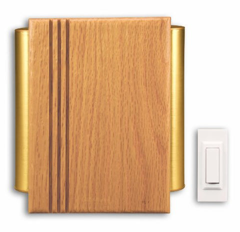 Heath Zenith Sl-7882-02 Traditional Dcor Wireless Door Chime, Oak And Satin-Finish Brass