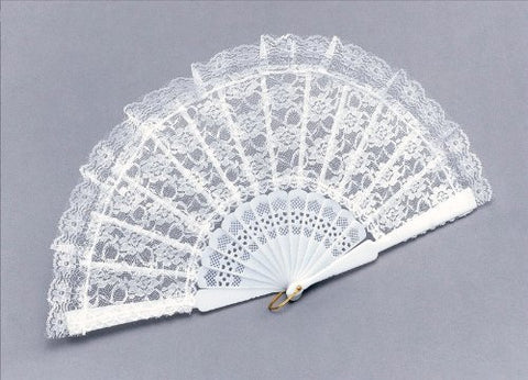 White Spanish Lace Hand Fan
