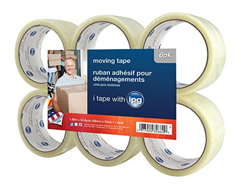 Intertape 91415  2662  Hot Melt Moving Tape, 1.88 Inch X 54.6 Yard, 6-Pack,1.6 Mil, Clear