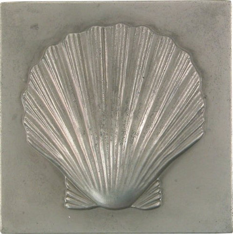Brass Elegans 27S-Pwt Shell Design Solid Metal 4-Inch X 4-Inch Accent Tile, Durable Pewter Finish