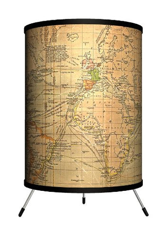 Lamp-In-A-Box Tri-Trv-Oldwo Travel - Old World Map Tripod Lamp