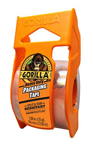 Gorilla 6034002 Heavy Duty Packaging With Dispenser, 1.88 X 25 Yd, Clear