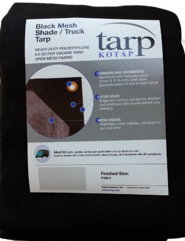 Kotap 10-Ft X 12-Ft Heavy-Duty 6.5 Oz Black Mesh Shade/Truck Tarp, Item: Mesh-1012