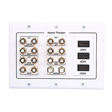 Hongye 7.2 Speaker Wall Plate, Premium Gold Plated Banana Plug Binding Surround Sound Distribution With 7 Pair Speakers & 2 Rca & 3 Hdmi For Home Theater/Subwoofer/Home Audio/Ps4/Xbox/Hdtv(White)