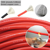 Electrical Wire 10 Awg 10 Gauge Silicone Wire Hook Up Wire Cables 20 Feet [10 Ft Black And 10 Ft Red] Soft And Flexible 1050 Strands 0.08 Mm Of Tinned Copper Wire High Temperature Resistance