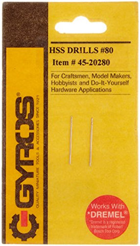 Gyros 45-20280 High Speed Steel Wire Gauge Drill Bit No.80