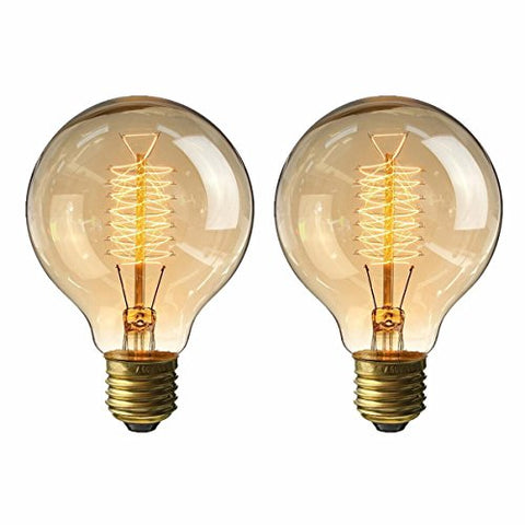 Kingso Vintage Edison Bulb 60W Incandescent Antique Dimmable Light Bulb Dimmable For Home Light Fixtures Squirrel Cage Filament E27 Base G80 110V