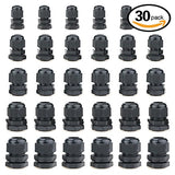 Hilitchi 30 Piece Nylon Plastic Waterproof Adjustable 3.5 - 13Mm Cable Glands Joints Cable Gland - Pg7, Pg9, Pg11, Pg13.5, Pg16